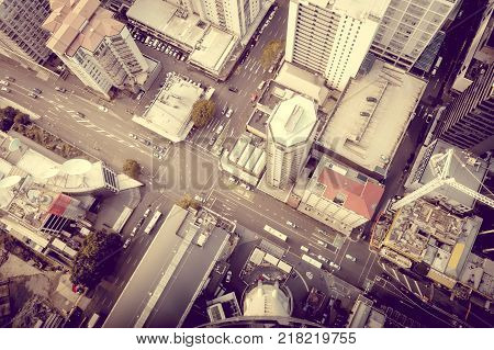 Auckland city. Buildings aerial top view New Zealand