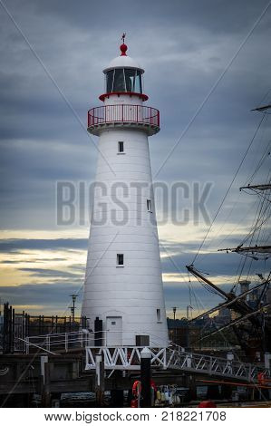 Darling Harbour lighthouse and Endeavour ship Sydney Australia