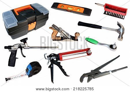 Set of construction tools. Tool for repair. Tool isolated.