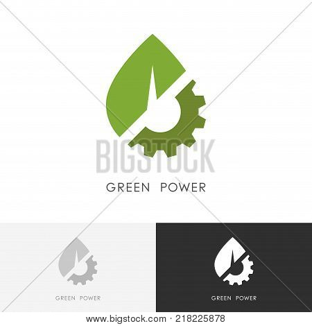 Green power logo - leaf and gear wheel or pinion symbol. Alternative energy source, industry and ecology vector icon.