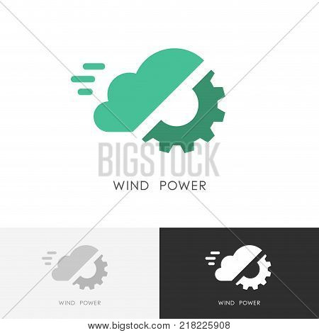 Wind power logo - cloud and gear wheel or pinion symbol. Alternative energy source, industry and ecology vector icon.