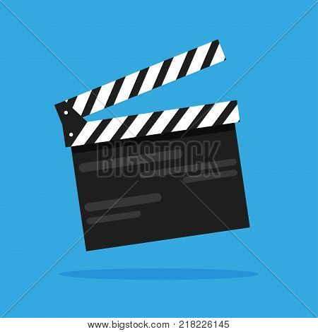 Clapperboard. The icon is isolated on a blue background. Cinema. Shooting. Take. For your design.