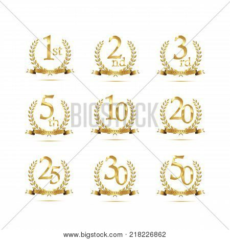 Anniversary golden symbol set. Golden laurel wreaths with ribbons and anniversary year symbols on white background. Vector anniversary design element