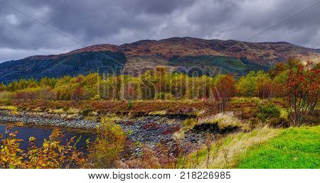 October wind. The Glencoe. River Coe valley. Cloudy and rainy october midday. Scottish highland Scotland.