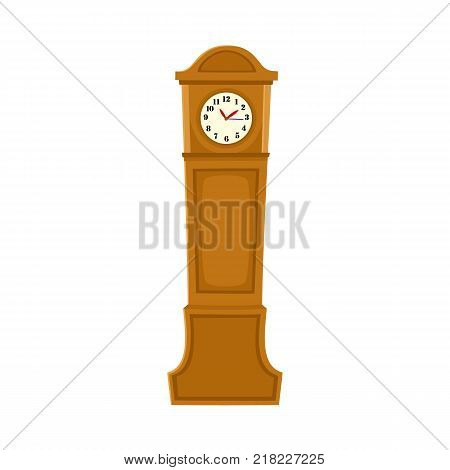 Traditional retro style grandfather clock in tall wooden case, flat cartoon vector illustration on white background. Retro, antique grandfather clock, timepiece, interior decoration element