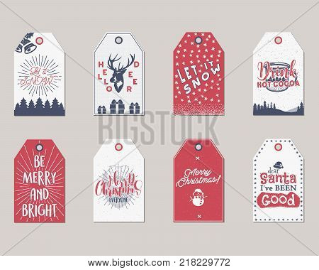 Merry Christmas and New Year gift tags collection. Holiday cards concept with xmas symbols - deer, snowflake, coffee cup, santa. Stock Vector illustration isolated on white background.
