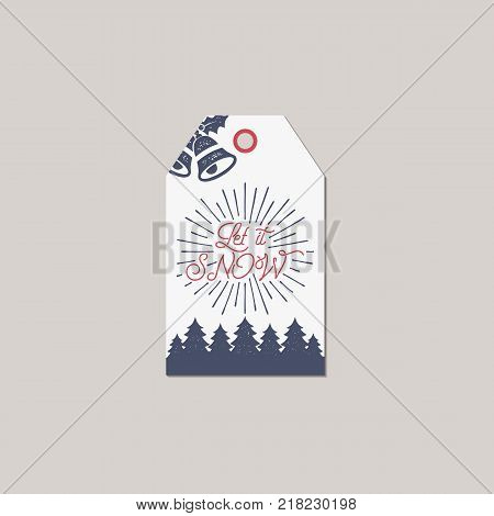 Merry Christmas and New Year gift tag. Holiday card concept with xmas symbols - tree, bells. Stock Vector illustration isolated on white background.