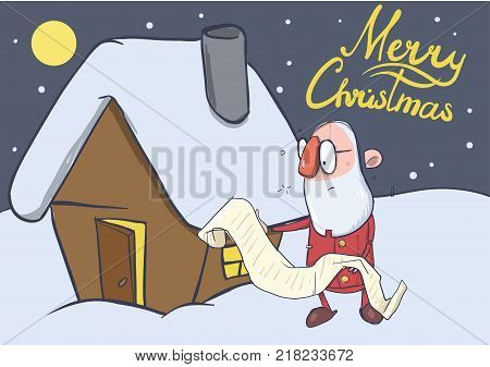 Christmas card of funny hatless Santa Claus in glasses reading a long scroll next to a small house. Vector character illustration.