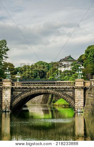 Tokyo Imperial Palace Outer Gardens with the famous Nijubashi Bridge