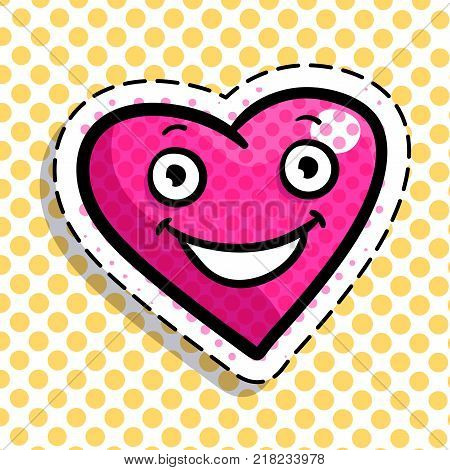 Red smiling heart on dots background. Art design for Valentines Day greetings and card in pop art syle.