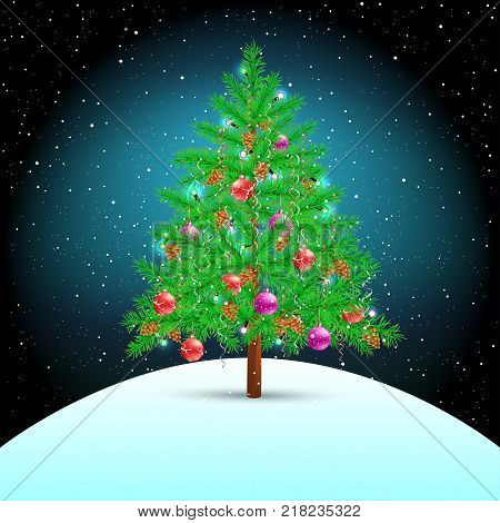 Christmas tree on night winter hill background. Spruce fir with toys ribbons cones and lights in branches. Green needles plant with shadow. New Year holiday pine fir-tree