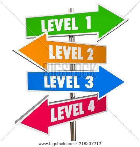 Four 4 Levels Road Street Signs 1234 Steps 3d Illustration