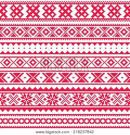 Lapland traditional red folk art design, Sami vector seamless pattern, Scandinavian, Nordic background