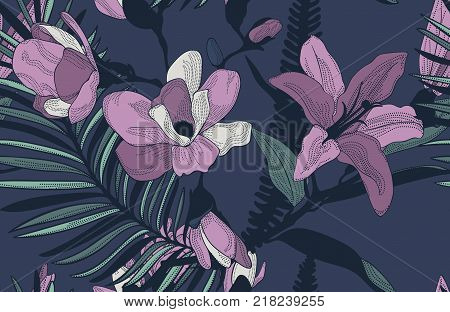 Vector Dark Colorful Decorative Seamless Background Pattern with Drawn Flowers, Cherry Blossom, Lily Flower, Fern Leaf. Hand Drawn. Vector Illustration with Pattern Swatch. Twilight Flowers