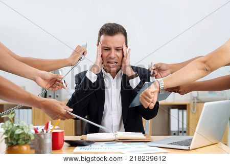 Businessman having panic attack because of many tasks given to him poster