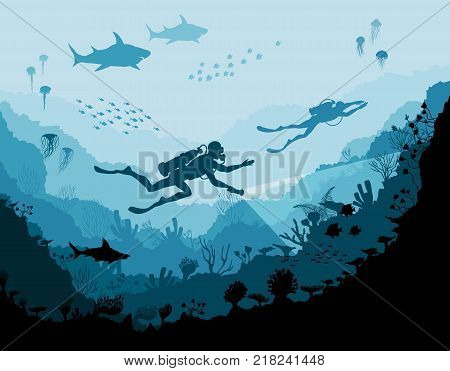 Diver explorers and reef Underwater wildlife, vector illustration