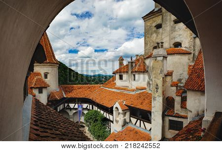 View of inside part of Bran or Dracula Castle in Transylvania, Romania. Tower of medieval Bran Castleor under a cloudy sky