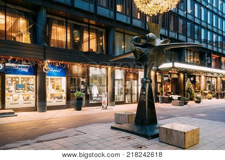 Helsinki, Finland - December 8, 2016:  Monument To Finnish Confectioner Karl Fazer, The Founder Of Famous Confectionery Fazer On Kluuvikatu Street In Evening Illumination