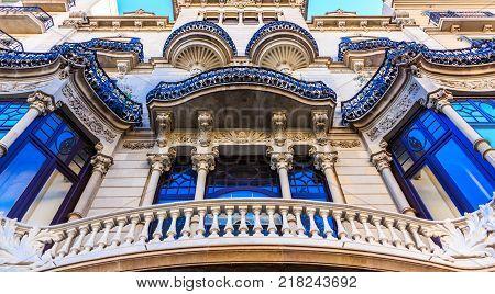 Classic Ornate Blue Trim on Spanish Architecture