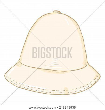 Vector Single White Cartoon Bucket Hat. Hip-hop Cap.