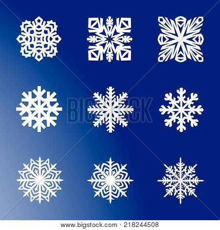 Vector snowflakes blue font collection set collection