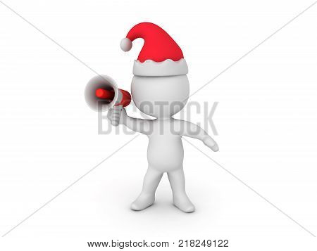 3D Character announcing X-MAS. Isolated on white.