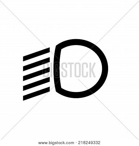The dipped beam dashboard icon. Car symbol. Flat design. Stock - Vector illustration