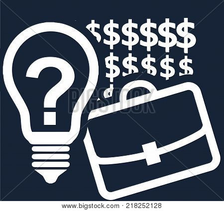 Office case dollar signs and a light bulb with a question mark as an idea symbol on a dark blue background. Vector simple template - concept of business enterprise corporation