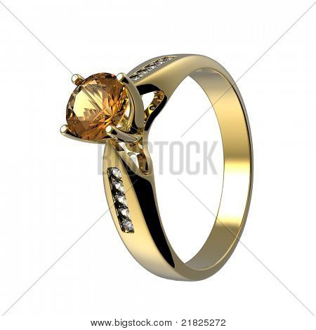 Ring with diamond isolated on white background poster
