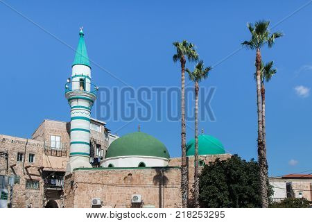 Acre Israel November 03 2017 : E-Zaitune Mosque in the fortress in the old city of Acre in Israel