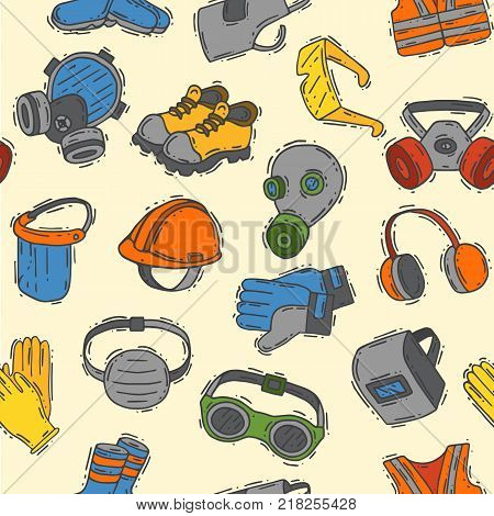 Vector protection clothing safety industry icons protective face and body equipment construction helmet, googles, mask and boots industrial mask for protect work seamless pattern background.