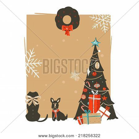 Hand drawn vector abstract Merry Christmas and Happy New Year time vintage cartoon illustrations greeting card template with xmas tree, pet dogs and place for your text isolated on brown background.