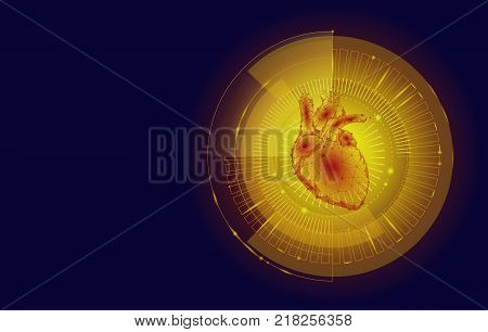 Low poly technology innovation heart HUD display. Futuristic medicine computer concept. Robotic cyborg human golden glow polygonal healthcare triangle particle point line. vector illustration art