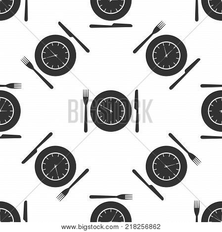 Plate with clock, fork and knife icon seamless pattern on white background. Lunch time. Eating, nutrition regime, meal time and diet concept. Flat design. Vector Illustration