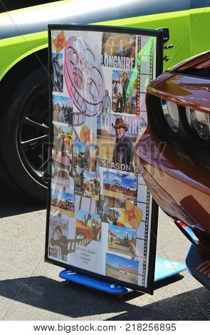 SANTA FE, NEW MEXICO, JULY 4. The Plaza on July 4, 2017, in Santa Fe, New Mexico. A Longmire Poster Shot from a Vintage Car Show a Tradition on the Fourth of July in Santa Fe New Mexico.