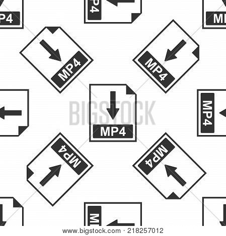 MP4 file document icon. Download MP4 button icon seamless pattern on white background. Flat design. Vector Illustration