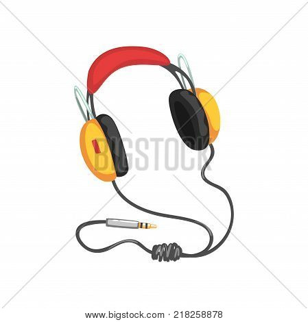 Stereo headphones with adapter cord, music technology accessory cartoon vector Illustration on a white background