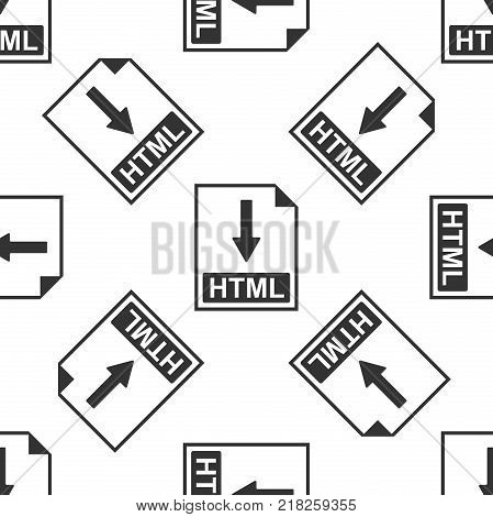 HTML file document icon. Download HTML button icon seamless pattern on white background. Flat design. Vector Illustration
