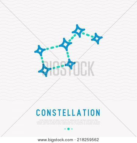 Big dipper constellation thin line icon. Modern vector illustration.