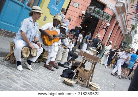Havana Cuba. March 10th 2017 - Musicians playing on the street of Havana Cuba