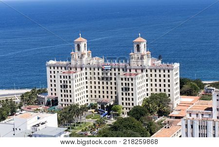Havana Cuba. March 10th 2017 - Aerial View of Hotel Nacional de Cuba