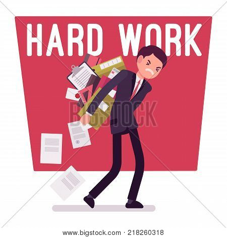 Hard work man. Young clerk weary or exhaust with paper documents, office worker with a load of files, employee in mess and distress. Vector business concept flat style cartoon illustration