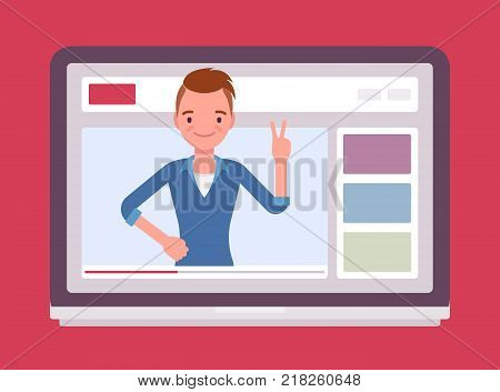 Videoblogger on a screen. Young man, vlogger posting personal weblog with video content, greeting blogosphere friends online. Vector flat style cartoon illustration