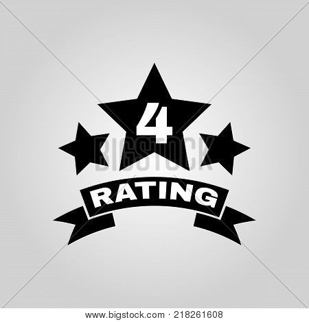 The fourth place rating icon. Ranking and classification, star symbol. Flat design. Stock - Vector illustration