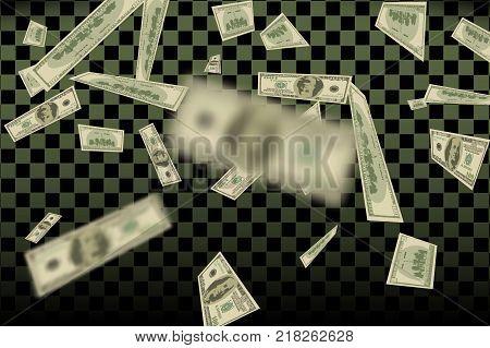 Flying US dollars pattern. undred money bills falling finance.