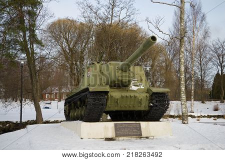 PRIOZERSK, RUSSIA - FEBRUARY 18, 2017: Self-propelled artillery mount ISU-152 - a monument in honor of the liberation of Priozersk during the Great Patriotic War
