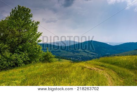 dirt road through the field in mountains on overcast day. beautiful summer scenery in stormy weather