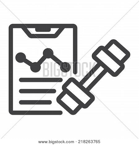 Sport training program line icon, fitness and sport, fitness plan sign vector graphics, a linear pattern on a white background, eps 10.