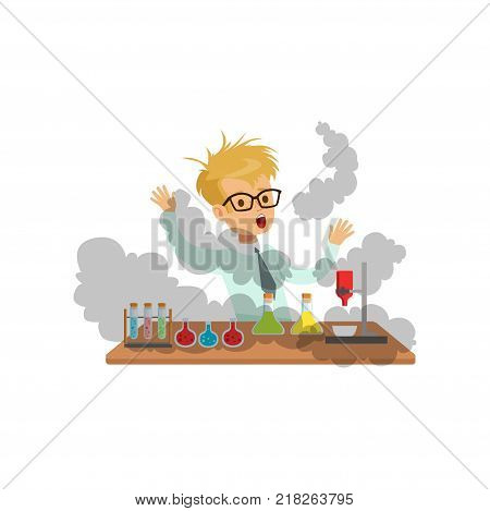 Boy scientist after a failed experiment, mixture explosion, schoolboy at chemistry lesson vector Illustration on a white background