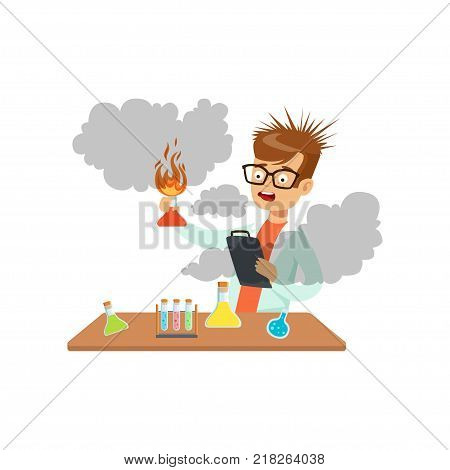 Boy scientist after a failed experiment, schoolboy at chemistry lesson vector Illustration on a white background